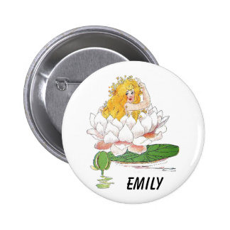 Water Lily Cute Flower Child Floral Fairy Girl 2 Inch Round Button