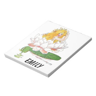Water Lily Cute Flower Child Floral Fairy Girl Notepad
