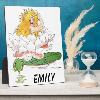 Water Lily Cute Flower Child Floral Fairy Girl Plaque