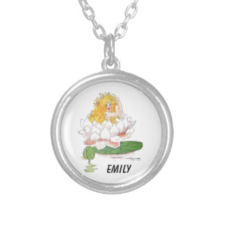 Water Lily Cute Flower Child Floral Fairy Girl Silver Plated Necklace