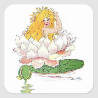 Water Lily Cute Flower Child Floral Fairy Girl Square Sticker