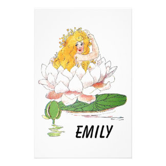 Water Lily Cute Flower Child Floral Fairy Girl Stationery Design