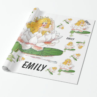 Water Lily Cute Flower Child Floral Fairy Girl Wrapping Paper