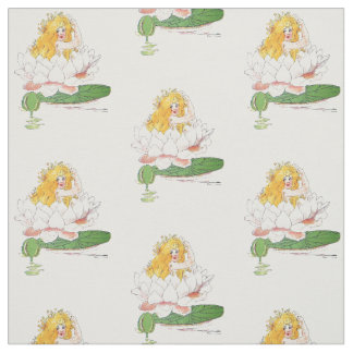 Water Lily Cute Flower Child Floral Funny Girl Fabric