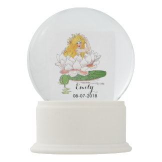 Water Lily Cute Flower Child Floral Girl Nursery Snow Globe