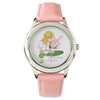 Water Lily Fairy Cute Flower Child Floral Girl Wristwatch