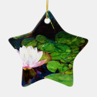 Water lily floating in a pond ceramic star ornament