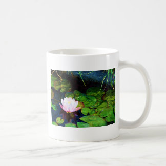 Water lily floating in a pond coffee mug