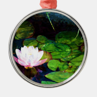 Water lily floating in a pond Silver-Colored round ornament