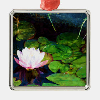 Water lily floating in a pond Silver-Colored square ornament