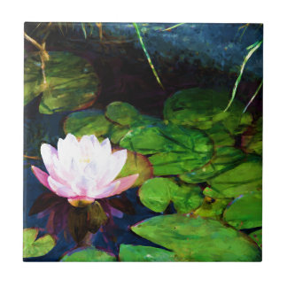 Water lily floating in a pond tile