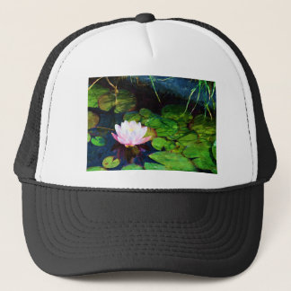 Water lily floating in a pond trucker hat