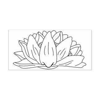 Water Lily Floral Flower Line Art Illustration Rubber Stamp
