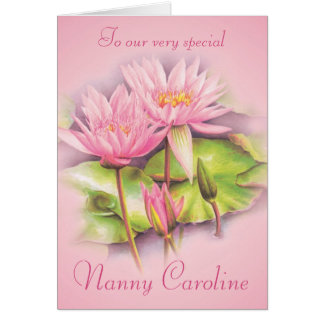 Water lily floral pink nanny birthday card