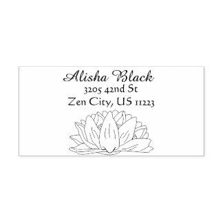 Water Lily Flower Floral Illustration Name Address Rubber Stamp