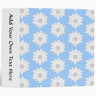Water Lily Flower Pattern. Blue, White and Gray. Vinyl Binders