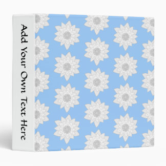 Water Lily Flower Pattern. Blue, White and Gray. 3 Ring Binders