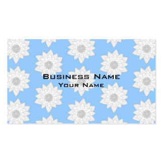 Water Lily Flower Pattern. Blue, White and Gray. Pack Of Standard Business Cards