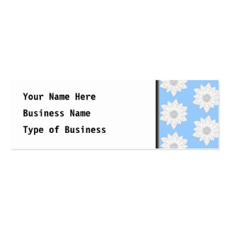 Water Lily Flower Pattern. Blue, White and Gray. Pack Of Skinny Business Cards