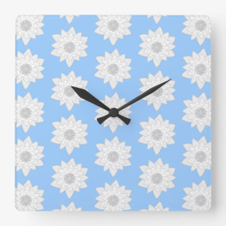 Water Lily Flower Pattern. Blue, White and Gray. Square Wall Clock
