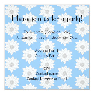 "Water Lily Flower Pattern. Blue, White and Gray. 5.25"" Square Invitation Card"