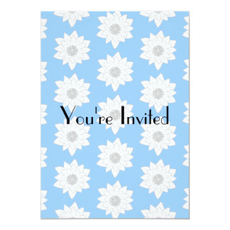 "Water Lily Flower Pattern. Blue, White and Gray. 5"" X 7"" Invitation Card"