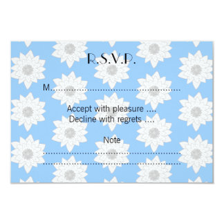 "Water Lily Flower Pattern. Blue, White and Gray. 3.5"" X 5"" Invitation Card"
