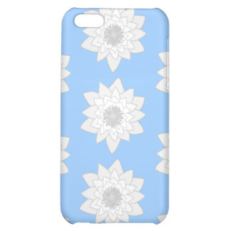 Water Lily Flower Pattern. Blue, White and Gray. Cover For iPhone 5C