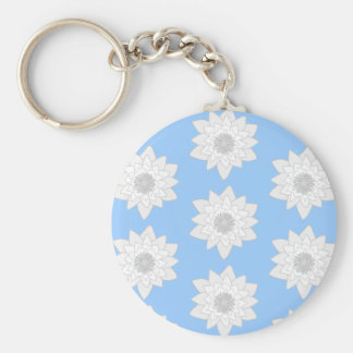 Water Lily Flower Pattern. Blue, White and Gray. Key Chain
