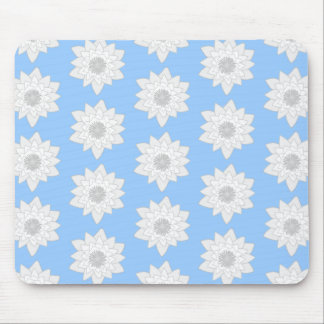Water Lily Flower Pattern. Blue, White and Gray. Mouse Pad