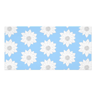 Water Lily Flower Pattern. Blue, White and Gray. Photo Greeting Card