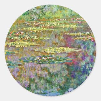 Water Lily Flowers Claude Monet Fine Art Classic Round Sticker