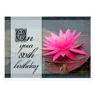 Water lily for 80th birthday postcard