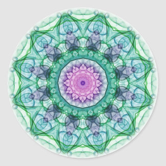 Water Lily kaleidoscope Classic Round Sticker