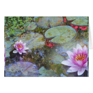 Water Lily Leaves and Flowers Card