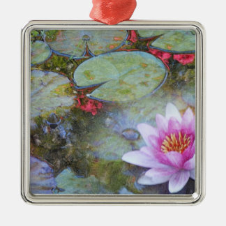 Water Lily Leaves and Flowers Silver-Colored Square Ornament