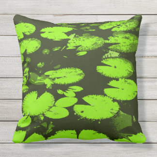 Water lily leaves black outdoor pillow