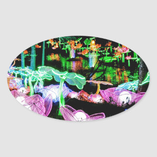 Water LIly Light Up Night Photography Oval Sticker