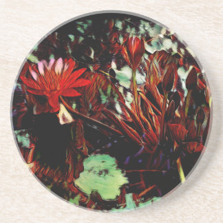 """""""Water Lily"""" Lily Flower Valentine Red Coaster"""
