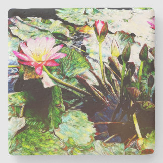 """""""Water Lily"""" Lily Pink Valentine Pretty Coaster"""