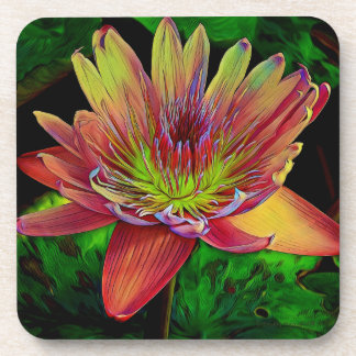 """Water Lily"" Lily Rainbow Valentine Flower Coaster"