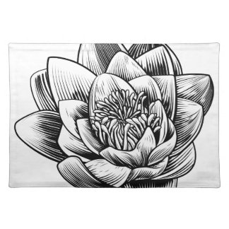 Water Lily Lotus Flower Vintage Woodcut Engraved E Placemat