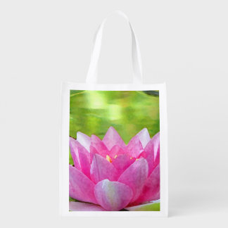 Water Lily Lotus Reusable Grocery Bag