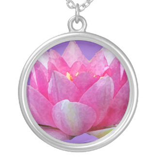 Water Lily Lotus Silver Plated Necklace