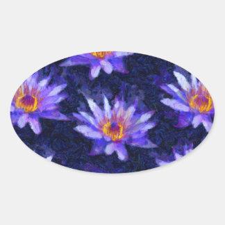 Water Lily Modern Oval Sticker