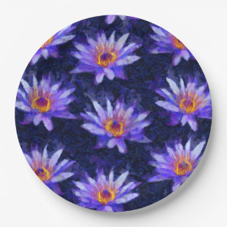 Water Lily Modern Paper Plate