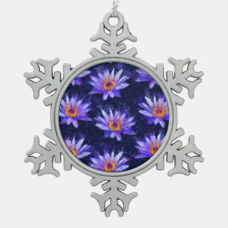 Water Lily Modern Snowflake Pewter Christmas Ornament
