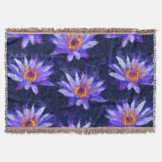 Water Lily Modern Throw Blanket