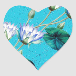 Water Lily On Blue Heart Sticker