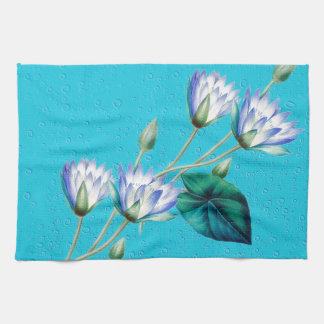 Water Lily On Blue Kitchen Towel
